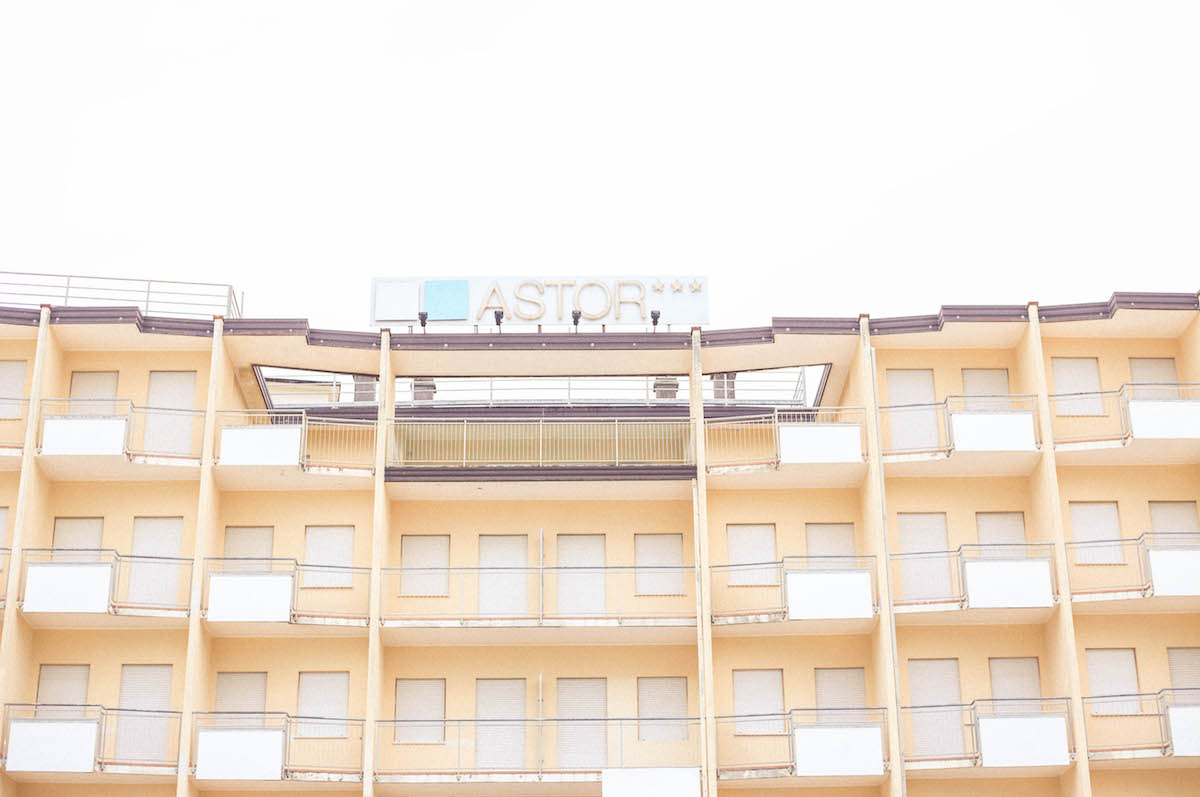 jesolo beach travel italy architecture hotel 70s. sign